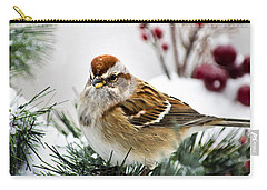 Christmas Sparrow Carry-all Pouch by Christina Rollo