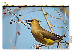 Cedar Waxwing With Berry Carry-all Pouch by Robert Frederick