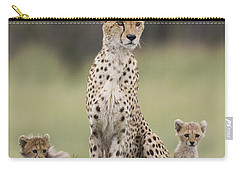 Cheetah Mother And Cubs Maasai Mara Carry-all Pouch by Suzi Eszterhas