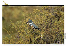 Belted Kingfisher With Fish Carry-all Pouch by Anthony Mercieca