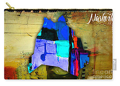Nashville Map Watercolor Carry-all Pouch by Marvin Blaine