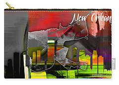 New Orleans Map And Skyline Watercolor Carry-all Pouch by Marvin Blaine