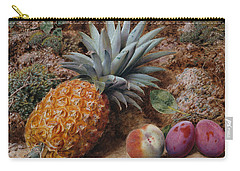 A Pineapple A Peach And Plums On A Mossy Bank Carry-all Pouch by John Sherrin