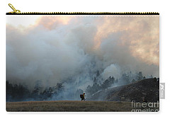 Carry-all Pouch featuring the photograph A Solitary Firefighter On The White Draw Fire by Bill Gabbert