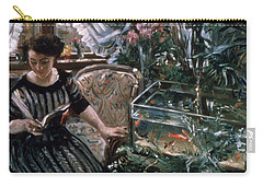 A Woman Reading Near A Goldfish Tank Carry-all Pouch by Lovis Corinth