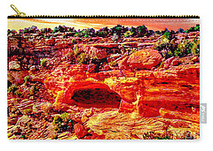 Cave In Canyon Dechelly National Park - Sunset Carry-all Pouch by Bob and Nadine Johnston