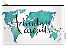 Adventure Awaits - Travel Quote On World Map Carry-all Pouch by Michelle Eshleman