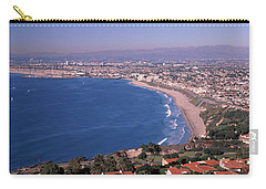 Aerial View Of A City At Coast, Santa Carry-all Pouch by Panoramic Images