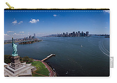 Aerial View Of A Statue, Statue Carry-all Pouch by Panoramic Images