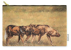 Africa Wild Dogs Carry-all Pouch by David Stribbling