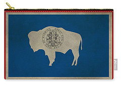 Aged Wyoming State Flag Carry-all Pouch by Dan Sproul