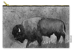 Monochrome American Buffalo 3  Carry-all Pouch by Hailey E Herrera