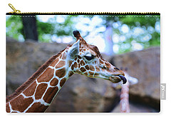 Animal - Giraffe - Sticking Out The Tounge Carry-all Pouch by Paul Ward