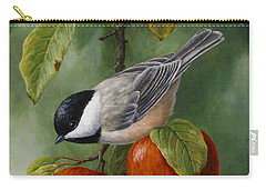 Apple Chickadee Greeting Card 3 Carry-all Pouch by Crista Forest
