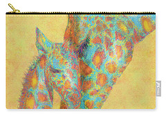 Aqua And Orange Giraffes Carry-all Pouch by Jane Schnetlage