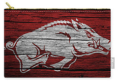 Arkansas Razorbacks On Wood Carry-all Pouch by Dan Sproul