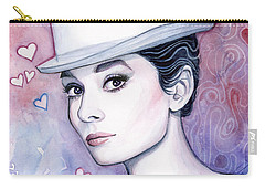 Audrey Hepburn Fashion Watercolor Carry-all Pouch by Olga Shvartsur
