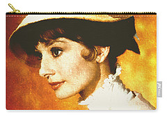 Audrey Hepburn - Impressionism Carry-all Pouch by Georgiana Romanovna