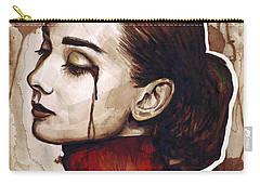 Audrey Hepburn Portrait Carry-all Pouch by Olga Shvartsur