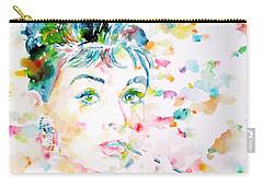 Audrey Hepburn  Watercolor Portrait.3 Carry-all Pouch by Fabrizio Cassetta
