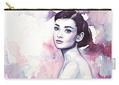 Audrey Hepburn Purple Watercolor Portrait Carry-all Pouch by Olga Shvartsur
