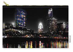 Austin Night Skyline Reflections  Carry-all Pouch by Gary Gibich