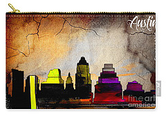 Austin Skyline Watercolor Carry-all Pouch by Marvin Blaine