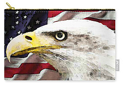 Bald Eagle Art - Old Glory - American Flag Carry-all Pouch by Sharon Cummings