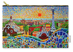 Barcelona View At Sunrise - Park Guell  Of Gaudi Carry-all Pouch by Ana Maria Edulescu