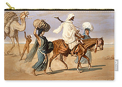 Bedouin Family Travels Across The Desert Carry-all Pouch by Henri de Montaut