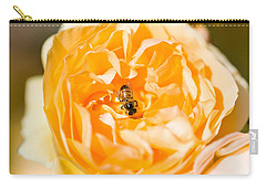 Bee Pollinating A Yellow Rose, Beverly Carry-all Pouch by Panoramic Images