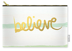 Believe In Mint And Gold Carry-all Pouch by Linda Woods