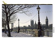 Big Ben Westminster Abbey And Houses Of Parliament In The Snow Carry-all Pouch by Robert Hallmann