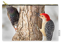 Bird Feeder Stand Off Square Carry-all Pouch by Bill Wakeley