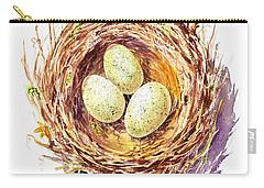 Bird Nest A Happy Trio Carry-all Pouch by Irina Sztukowski