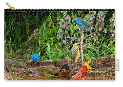Birds Bathing Carry-all Pouch by Anthony Mercieca