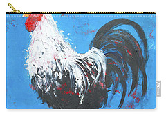 Black And White Rooster On Blue  Carry-all Pouch by Jan Matson
