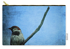 Sparrow On Blue Carry-all Pouch by Dan Sproul