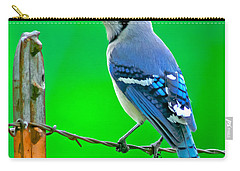 Blue Jay On The Fence Carry-all Pouch by Robert Frederick