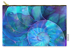 Blue Nautilus Shell By Sharon Cummings Carry-all Pouch by Sharon Cummings