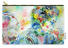 Bob Dylan And Joan Baez Watercolor Portrait.1 Carry-all Pouch by Fabrizio Cassetta