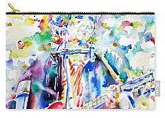 Bob Dylan Playing The Guitar - Watercolor Portrait.1 Carry-all Pouch by Fabrizio Cassetta