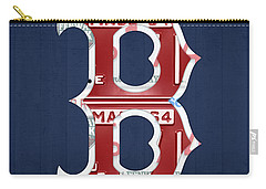 Boston Red Sox Logo Letter B Baseball Team Vintage License Plate Art Carry-all Pouch by Design Turnpike