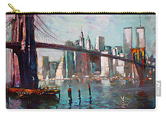 Brooklyn Bridge And Twin Towers Carry-all Pouch by Ylli Haruni