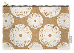 Brown And White Floral Carry-all Pouch by Linda Woods