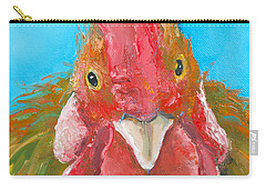 Brown Rooster On Blue Carry-all Pouch by Jan Matson