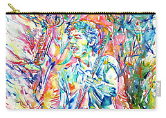 Bruce Springsteen And Clarence Clemons Watercolor Portrait Carry-all Pouch by Fabrizio Cassetta
