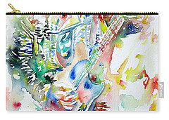 Bruce Springsteen Playing The Guitar Watercolor Portrait Carry-all Pouch by Fabrizio Cassetta