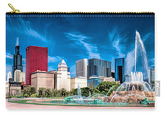 Buckingham Fountain Skyline Panorama Carry-all Pouch by Christopher Arndt