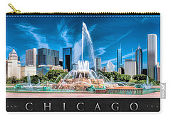 Buckingham Fountain Skyline Panorama Poster Carry-all Pouch by Christopher Arndt